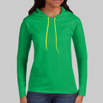Ladies 100% Combed Ring Spun Cotton Long Sleeve Hooded T Shirt