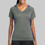 Ladies Heather Colorblock Contender ™ V Neck Tee